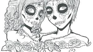 Skull Coloring Pages To Print Candy Sugar Page Couples Love