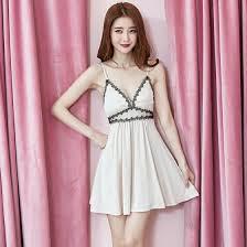 Shop <b>Summer new sexy</b> dress <b>strap</b> low-cut lace big swing A-line ...