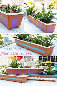 plastic flower pots painting plastic
