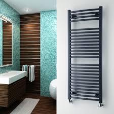 heated towel rack in bathroom