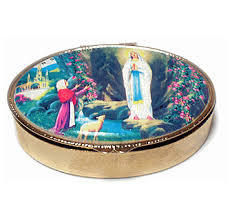our lady of lourdes rosary box pill box with free rome postcard