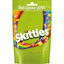 <b>КОНФЕТЫ</b> Pouch <b>жевательные в</b> глазури Кисломс 165 гр. <b>Skittles</b>