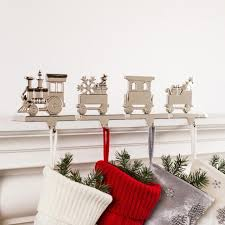 KSP Christmas Mantle Epoxy 'Train' Zinc Stocking Holder - Set of 4 ...
