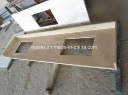 customized crema marfil marble beige color countertop kitchen top vanity top