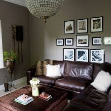 decorate living room ideas magnificent layout dark brown leather sofa rectangle coffee table antique hanging lamps potted plants gray painted wall photo
