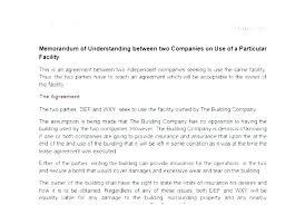 Partnership Agreement Between Companies Free Sample Agreements Inspiring Template Simple Memorandum