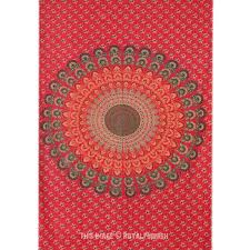 twin size red indian fl mandala hippie tapestry wall hanging decor art