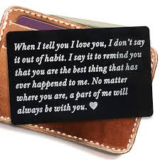 engraved metal card insert wallet love note anniversary gifts for men wallet insert