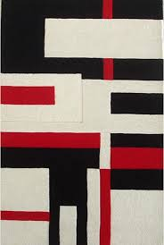 geometric hand tufted wool rug black white and red 8