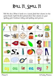 So far you can see we have a variety of sets of worksheets that deal with beginning sounds and rhyming and we are working on more. Phonics Phase 5 Roll It Spell It By Funkyphonics Teaching Resources Tes Phonics Activities Phonics Interventions Phonics Games