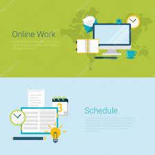 Online Work Schedule Banner Online Work Schedule Stock Vector Sentavio 90652980