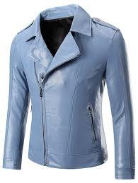 epaulet zippered lapel long sleeve faux leather jacket for men m
