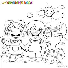 Small Picture Black and white outline image of a girl and a boy students at
