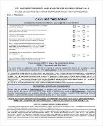 Passport Renewal Application Form New 48 Sample Passport Renewal Forms Sample Templates