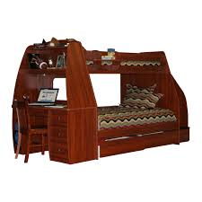 brown wooden bunk bed with stairs combined with desk also drawers on the legs completed with colorful curving pattern bedding set