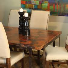 Copper Top Kitchen Table Steel Strap Rectangle Dining Table With Copper Top
