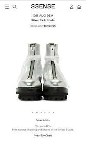 Ssense Size Chart 1017 Alyx 9sm Silver Tank Boots Ebay