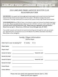 Registration Form Lakeland Panas Lacrosse Booster Club