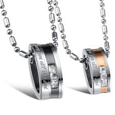 fashion jewelry snless steel couples necklace pendant set 2967 3 how