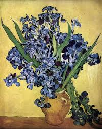 vincent van gogh still life vase with irises against a yellow background