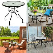 32 patio round table tempered glass
