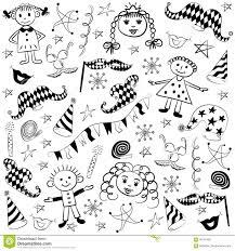 Simboli Disegnati A Mano Variopinti Del Partito E Bambini Felici