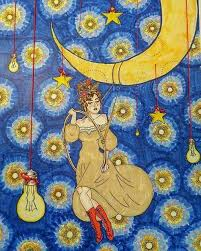 ilration mixeda ink thread moon swing stars