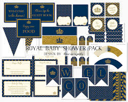 Blue And Gold Baby Shower Decorations Royal Blue And Gold Etsy