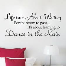 wall art ideas design red writing wall art sample pillow lamp sofa white text life is not about waiting for the storm to pass decor writing wall art home