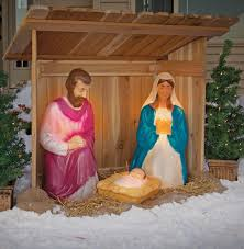 furniture outdoor nativity set with creche piece the light