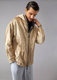 giorgio armani men s hooded satin peacoat with crumpled effect beige ptdijpt5 larger image