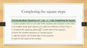 11 completing the square steps
