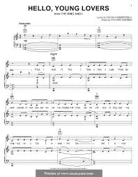 hello free piano sheet music hello young lovers by r rodgers sheet music on musicaneo