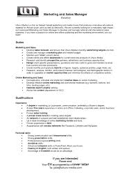 Sample Resume For Marketing And Sales Manager Inspirationa Digitalng
