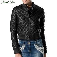 Women Quilted Leather Jacket Black Bomber Lozenge Faux Leather ... & Women Quilted Leather Jacket Black Bomber Lozenge Faux Leather Jacket Jack  Motorcycle Coat femininas chaqueta leren damesjas-in Leather & Suede from  Women's ... Adamdwight.com