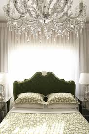 view full size beautiful hollywood regency green bedroom with glam crystal chandelier