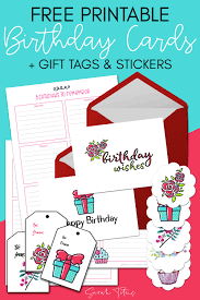 Free Printable Birthday Cards Gift Tags Stickers Sarah
