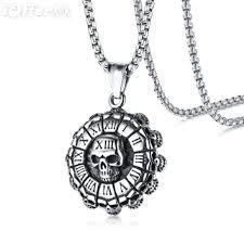 men s stainless steel skull pendant necklace gift j1058