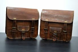 details about saddlebags motorcycle pouch brown leather two bags panniers saddle bags
