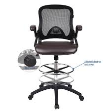 office drafting chair. Office Drafting Chair Adjustable Height PU Leather Mesh Back Funiture Seat N