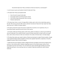 open door policy document. How Did The Open Door Policy Contribute To America\u0027s Growth As A World Power? 1 Document T