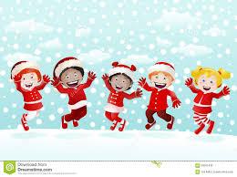 Happy Kids On Winter Stock Illustration Illustration Of Circling