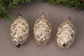 Christbaumschmuck Zapfen Tannenzapfen Antik Set 3 Stück Glas Weihnachten Deko