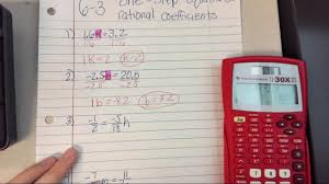 6 3 one step equations with rational coefficients