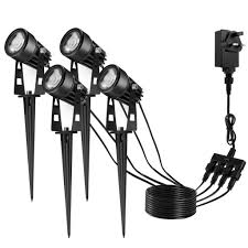Plug And Play Outside Lights Garden Lights Outdoor Ecowho Spike Lights 4 In 1 Hub Spot Light Plug And Play 12v Waterproof For Flood Landscape Tree Lawn Wall Fence Warm White