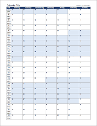 Blank Monthly Calendar Template Word Mesmerizing Continuous Monthly Calendar For Excel