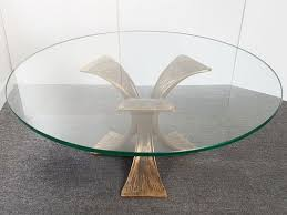 vintage bronze glass round coffee table