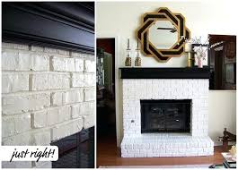 red brick fireplace with white mantle painted tile around