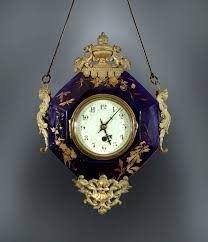 cobalt and gilt round wall clock the