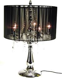chandelier table lamp sc1067b chrome metal stand black fabric cover crystal chandelier